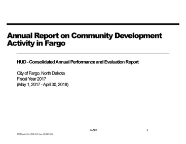 2017 Consolidated Annual Performance and Evaluation Report (CAPER)
