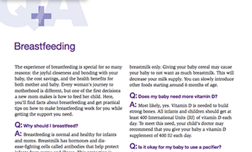 Fact Sheet - Breastfeeding