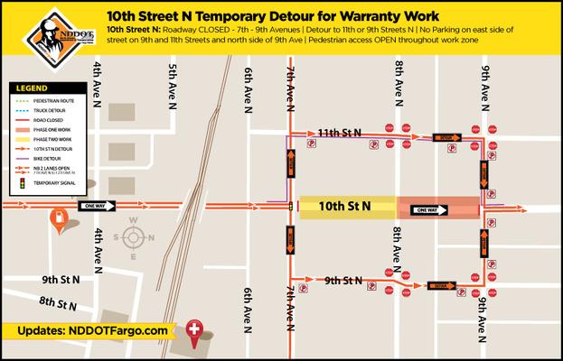 TUESDAY warranty repairs on underground utilities for 10th St N between the 700 – 800 residential blocks begin.
