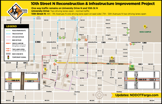 Lane Reductions: 10th St N between 4th Ave and 7th Ave N intersection