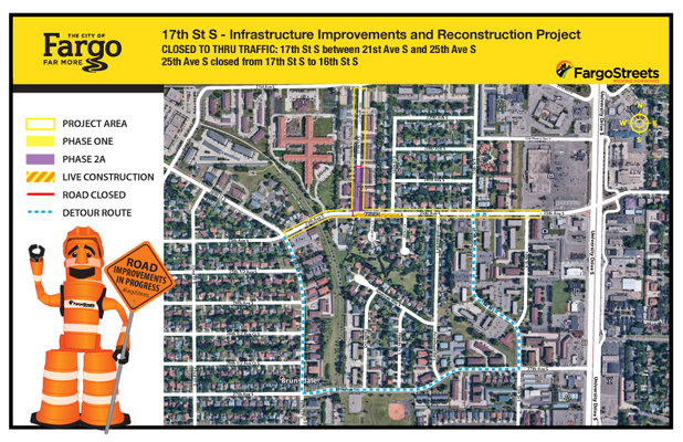 Upcoming Traffic Control: 17th Street South closed to thru traffic from 21st Avenue to 25th Avenue South