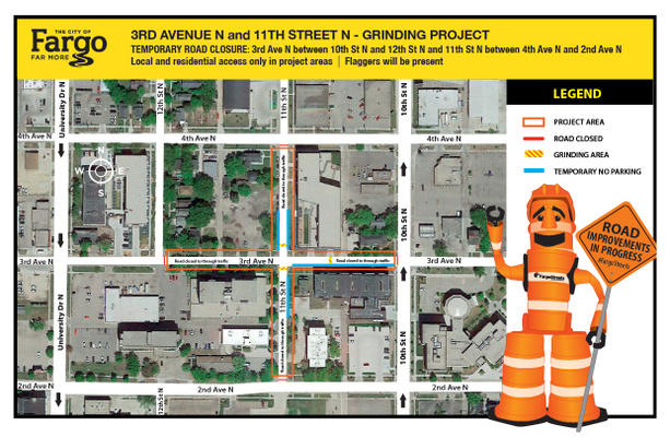 Temporary daytime road closures for sections of 3rd Avenue and 11th Street North