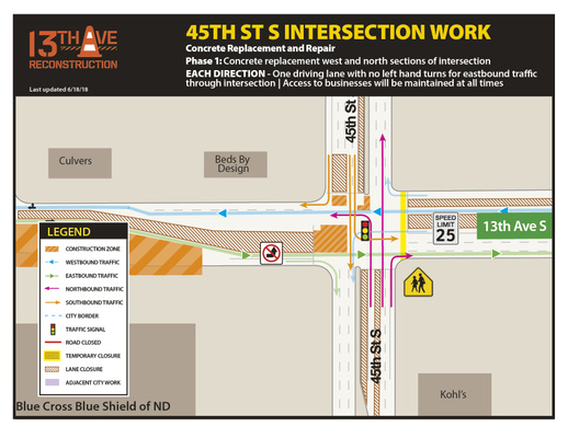 13th Avenue and 45th Street Intersection Work