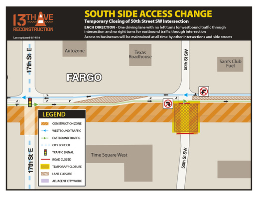 13th Avenue and 50th Street Intersection- South Side CLOSED