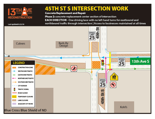 13th Avenue and 45th Street South Intersection Map