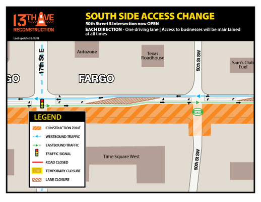 50th Street Southwest and 13th Avenue Intersection Map