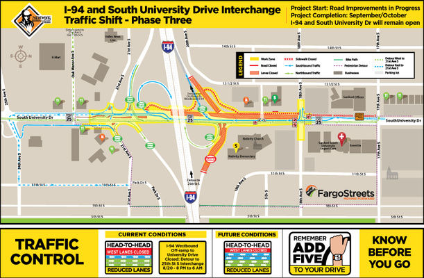 Monday overnight I-94 westbound off-ramp to South University Drive closure 8 p.m. to 6 a.m. Tuesday