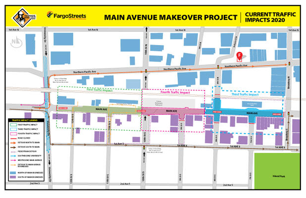 Main Avenue will be fully closed to traffic between University Drive to Broadway