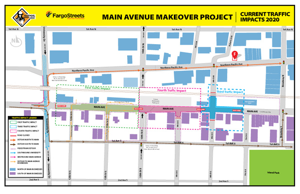 Main Avenue will be open to local traffic between Broadway to west of 7th Street South