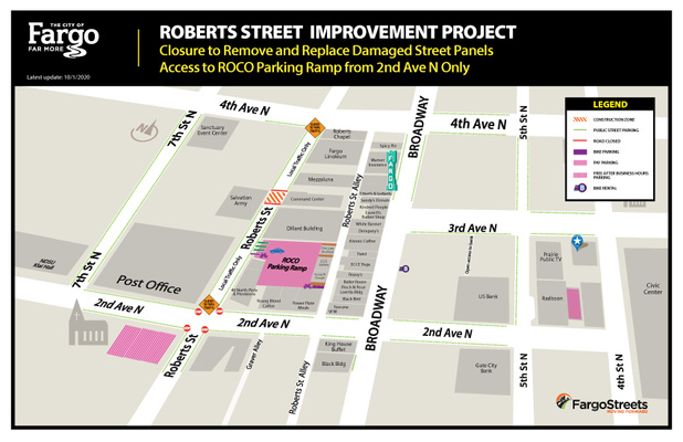 Roberts Street closed to through traffic between and Avenue and 4th Avenue North