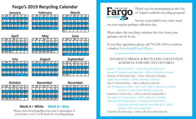 2019 City of Fargo Recycling Schedule