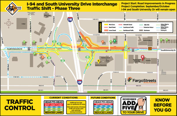 Additional turn lanes for 21st Avenue South and from eastbound I-94 off-ramp open to drivers