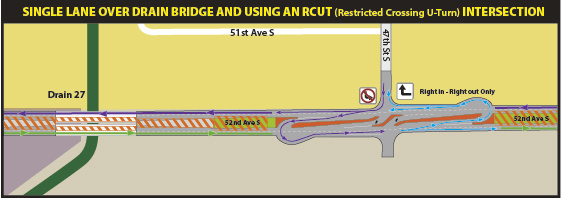 Work Zone Insert - Expanded view of 47th Street S RCUT