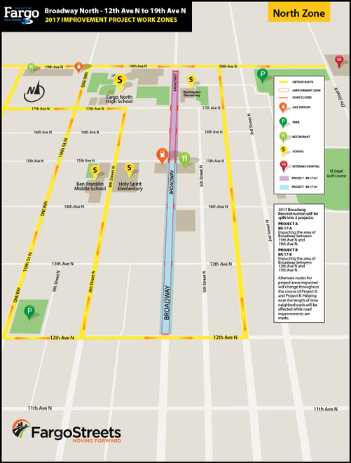 North Broadway Reconstruction Map