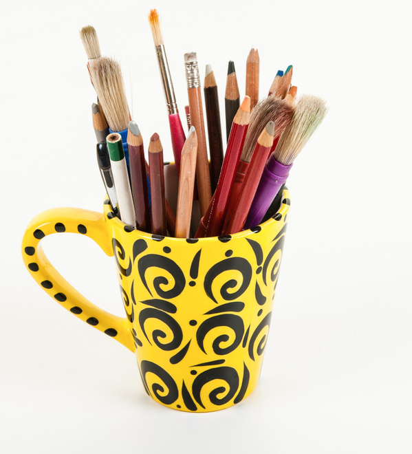 art supplies in a cup