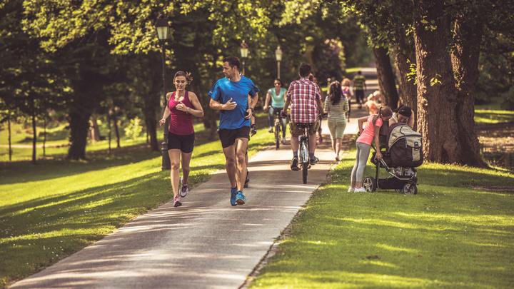 running, biking on trail