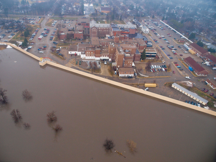 Fargo, N.D., March 24, 2009 -- US Coast Guard flyover to survey the Red River flooding.