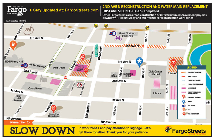 Adjacent work zones near 2nd Avenue N in downtown Fargo