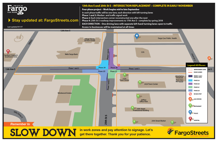 Work zone overview for 25th Street and 13th Ave S intersection reconstruction