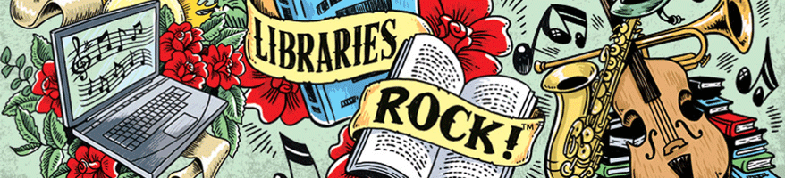 Libraries Rock summer reading program art